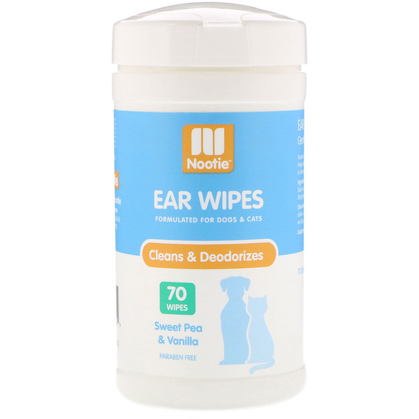 Nootie, Ear Wipes, For Dogs & Cats, Sweet Pea & Vanilla, 70 Wipes (Discontinued Item)