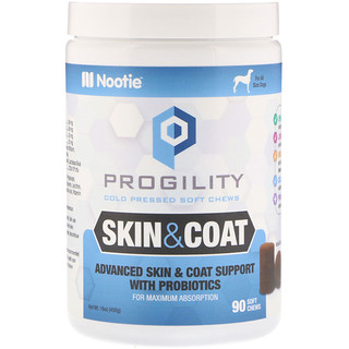 Nootie, Progility, Skin & Coat, For Dogs, 90 Soft Chews