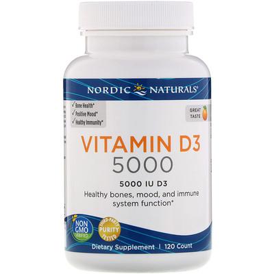 Купить Vitamin D3 5000, витамин D3 со вкусом апельсина, 5000 МЕ, 120 мягких желатиновых капсул
