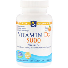 Nordic Naturals, Витамин D3 5000, апельсиновый вкус, 5000 МЕ, 120 мягких таблеток