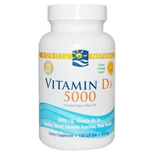 Nordic Naturals, Витамин D3 5000, апельсин, 120 гелевых капсул