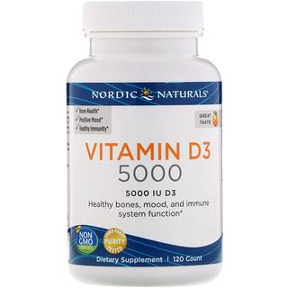 Nordic Naturals, Vitamin D3 5000, Orange, 5000 IU, 120 Soft Gels