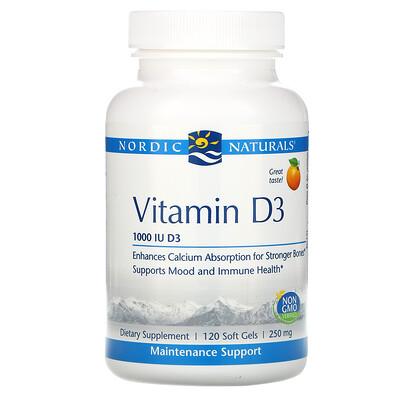 Купить Nordic Naturals ВитаминD3, апельсин, 1000МЕ, 120мягких таблеток