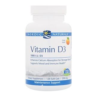 Nordic Naturals, Витамин D3, Апельсин, 1000 МЕ, 120 мягких таблетки