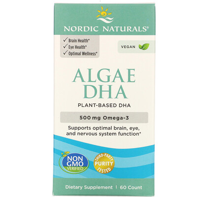 Купить Nordic Naturals ДГК из водорослей, 60мягких таблеток