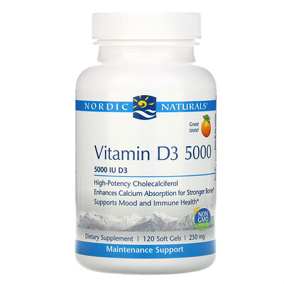 Купить Nordic Naturals Vitamin D3 5000, витамин D3 со вкусом апельсина, 5000 МЕ, 120 мягких желатиновых капсул
