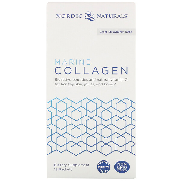 Nordic Naturals, Marine Collagen, Great Strawberry Taste, 15 Stick Packets, 5 g Each