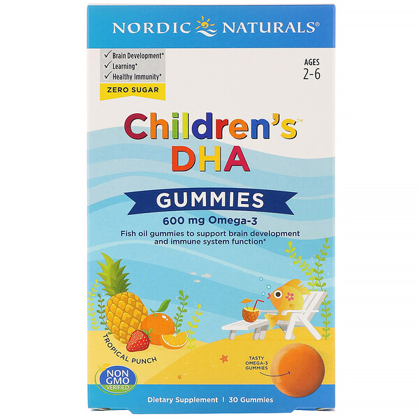 Children's DHA Gummies, Tropical Punch, 600 mg, 30 Gummies