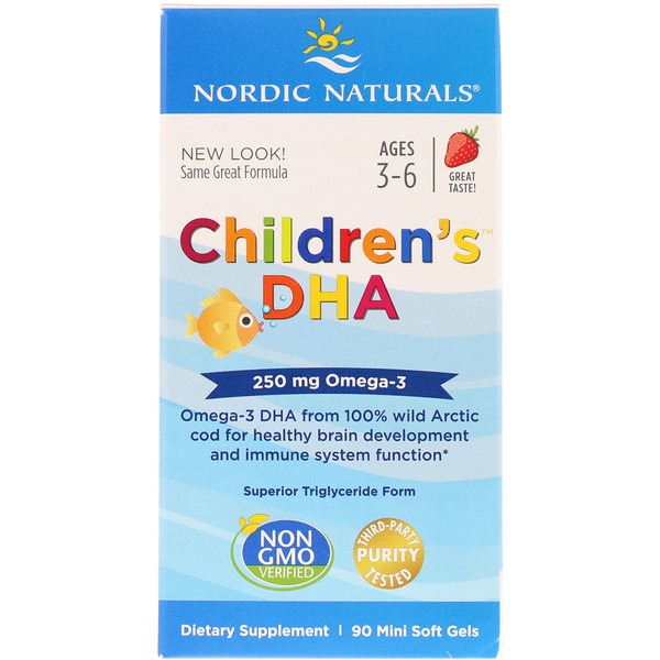 Nordic Naturals, Children's DHA, Strawberry, 250 mg, 90 Mini Soft Gels