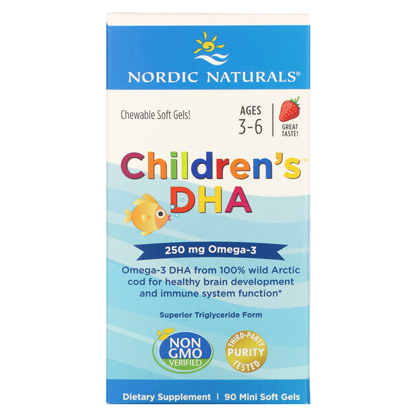 Nordic Naturals, Children's DHA, Ages 3-6, Strawberry, 250 mg, 90 Mini Soft Gels