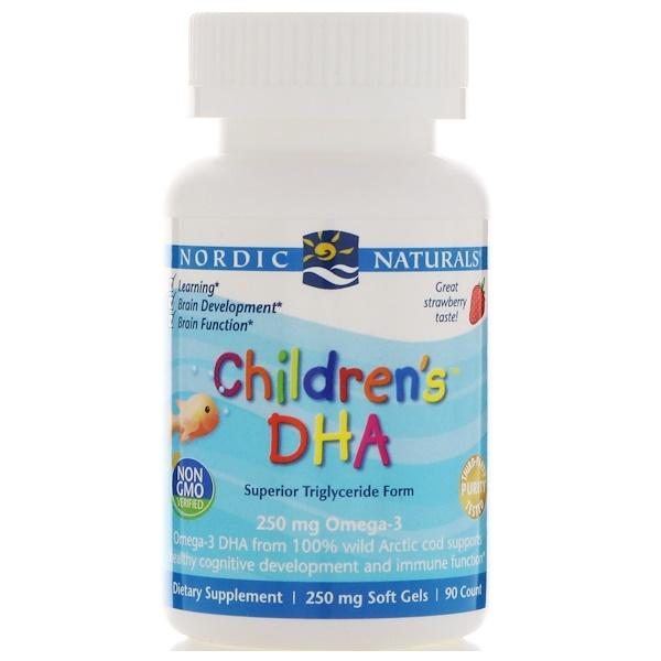 Nordic Naturals, ДГК для детей со вкусом клубники, 250 мг, 90 жевательных гелевых капсул