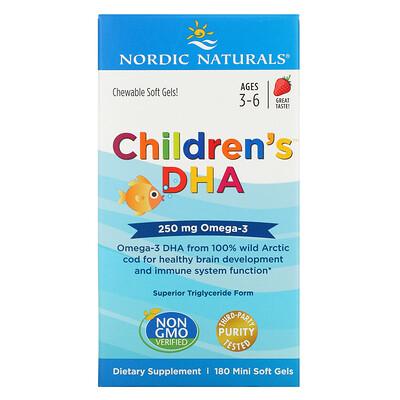 Купить Nordic Naturals Children's DHA, ДГК для детей, со вкусом клубники, для детей 3–6лет, 250мг, 180мини-капсул