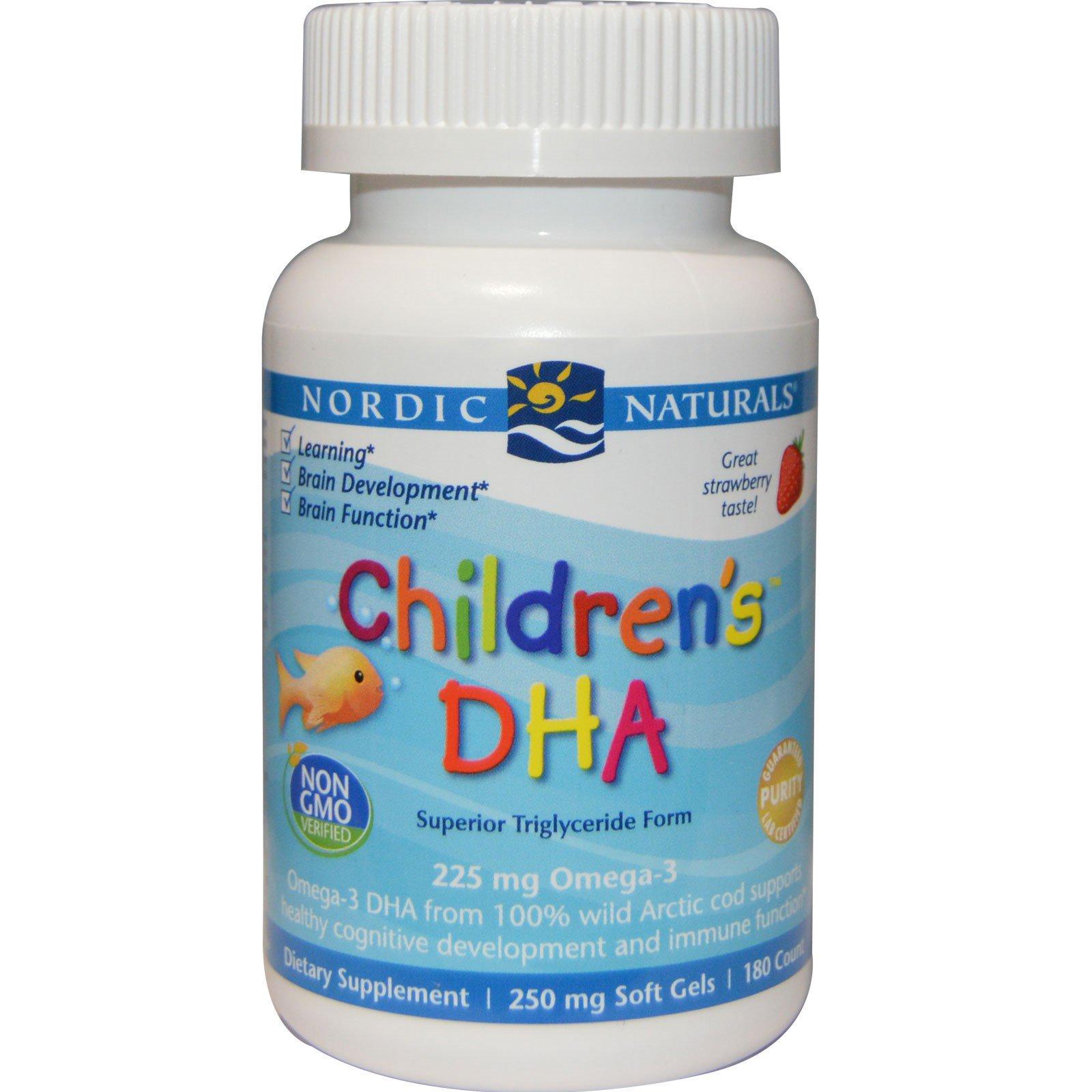 Nordic Naturals, ДГК для детей, со вкусом клубники, 250 мг, 180 желатиновых капсул