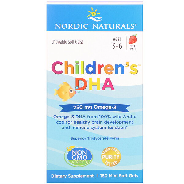 Children's DHA, Strawberry, 180 Mini Soft Gels
