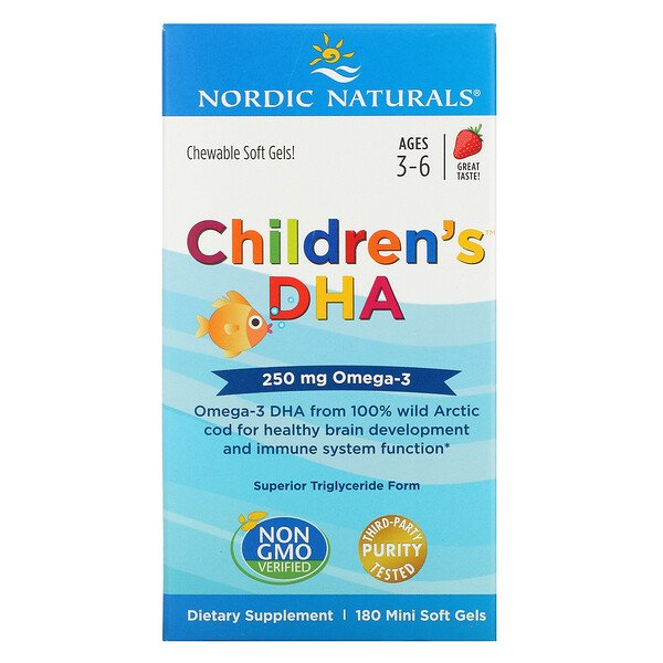Children's DHA, Ages 3-6, Strawberry, 250 mg, 180 Mini Soft Gels