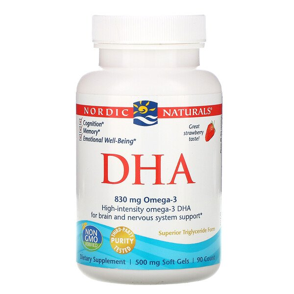 DHA, Strawberry, 500 mg, 90 Soft Gels