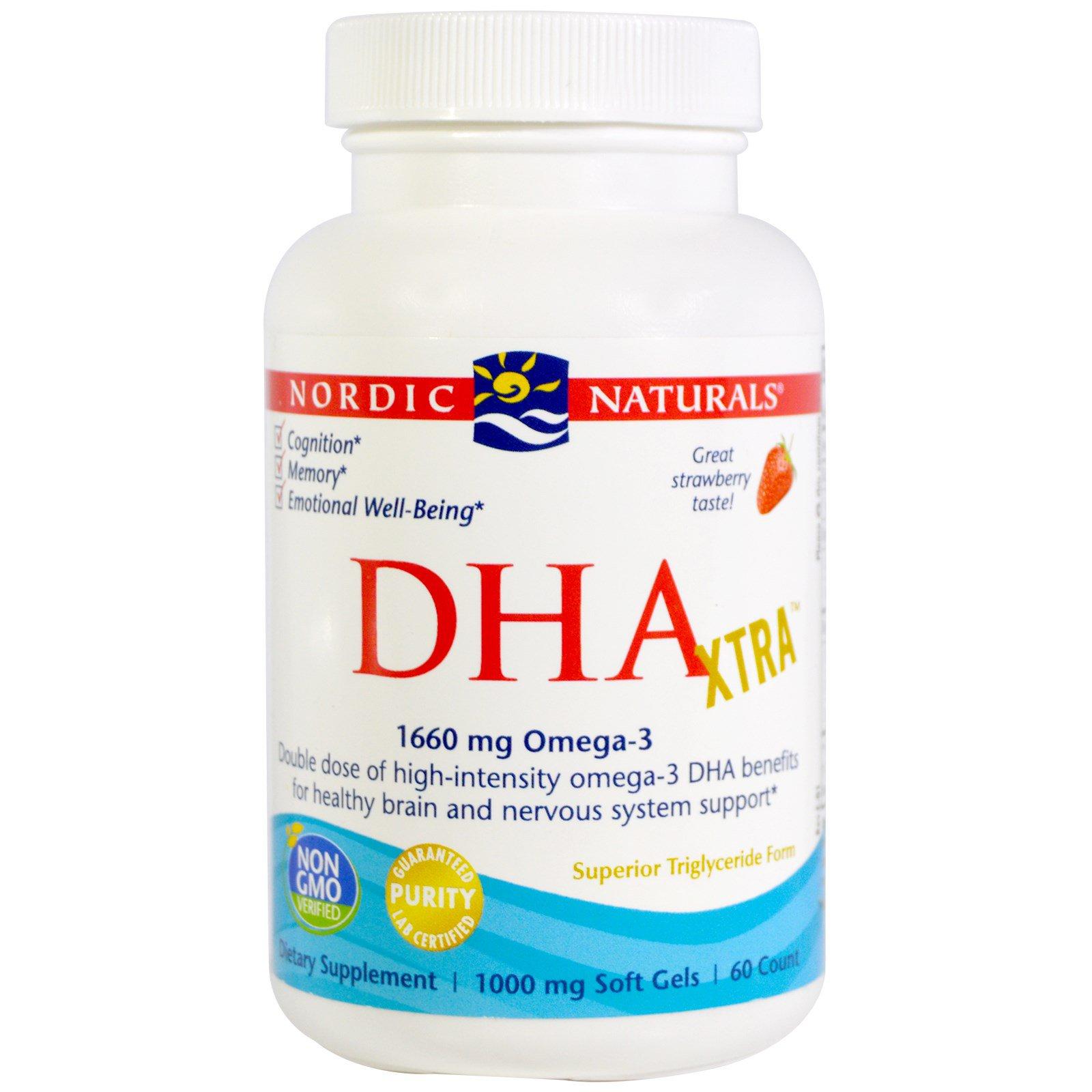 Nordic Naturals, DHA Xtra, Strawberry, 1000 mg, 60 Softgels