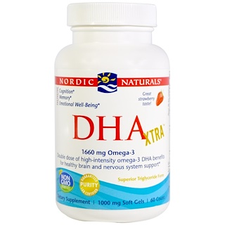 Nordic Naturals, DHA Xtra, Strawberry, 1000 mg, 60 Soft Gels