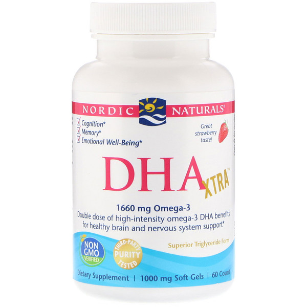 Nordic Naturals, DHA Xtra, Strawberry, 1,000 mg, 60 Soft Gels