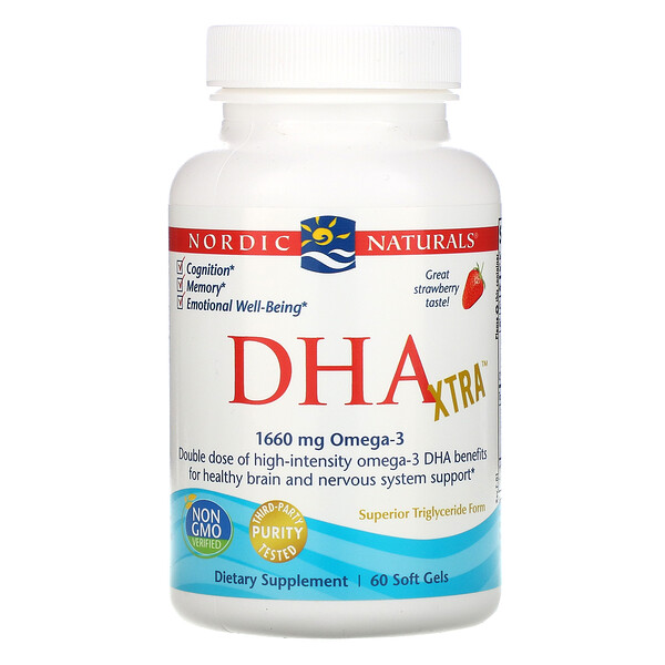 Nordic Naturals, DHA Xtra, Strawberry, 1,660 mg, 60 Soft Gels