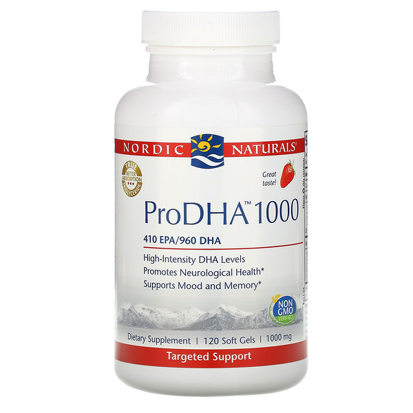 Nordic Naturals, ProDHA 1000, Strawberry , 1,000 mg, 120 Soft Gels