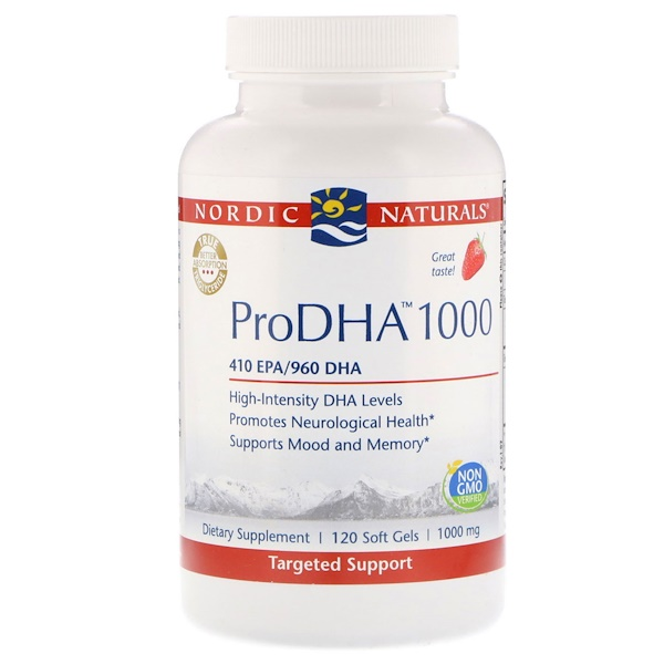 Nordic Naturals, ProDHA 1000, Strawberry Flavor, 1000 mg, 120 Softgels