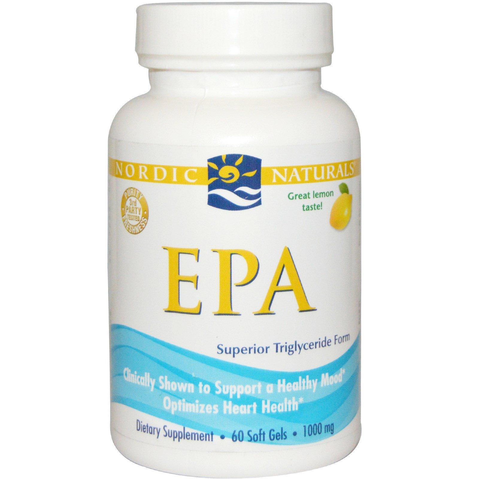 Nordic Naturals, Рыбий жир (ЭПК) со вкусом лимона, 1000 мг, 60 капсул