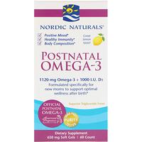 Postnatal Omega-3, лимон, 650 мг, 60 мягких таблеток - фото