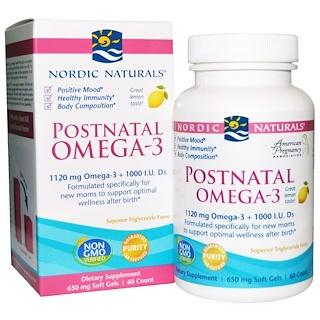 Nordic Naturals, Postnatal Omega-3, Lemon Flavor, 650 mg, 60 Soft Gels