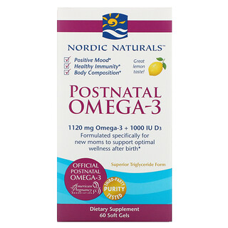 Nordic Naturals, Postnatal Omega-3, Lemon, 1,120 mg, 60 Soft Gels
