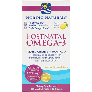 Nordic Naturals, 산모용 오메가-3, 레몬, 650 mg, 60 소프트젤