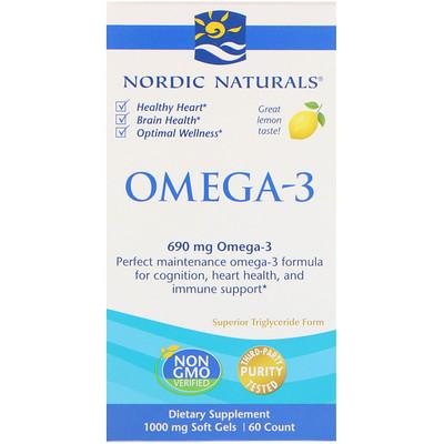 Омега-3 со вкусом лимона, 690 мг, 60 Желатиновых Капсул стоимость