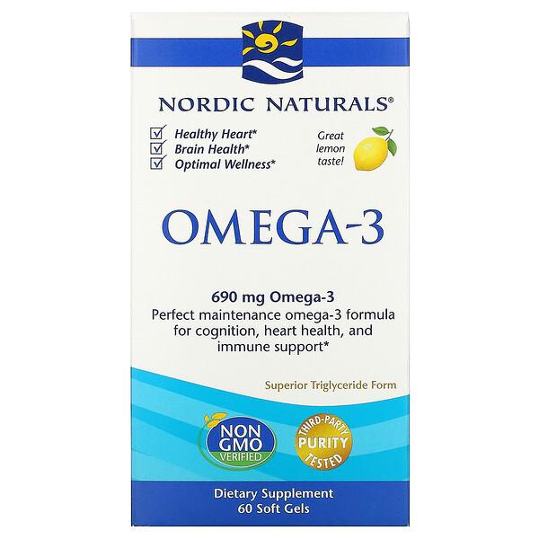 오메가-3, 레몬맛, 690 mg, 60 소프트젤