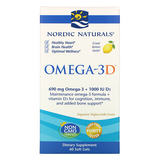 Nordic Naturals, Omega-3D, Lemon, 1000 mg, 60 Soft Gels