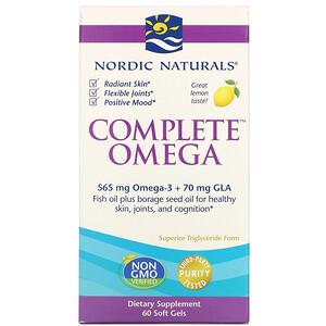 нордик Натуралс, Complete Omega, Lemon, 1,000 mg, 60 Soft Gels отзывы покупателей