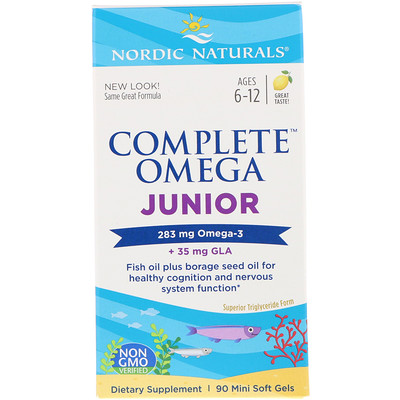 Complete Omega Junior, Lemon, Ages 6-12, 283 mg, 90 Mini Soft Gels