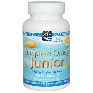 Nordic Naturals, Complete Omega Junior, Lemon, 500 mg, 90 Chewable Soft Gels