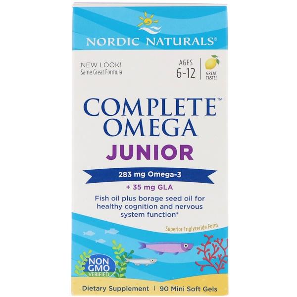 Nordic Naturals, Complete Omega Junior, со вкусом лимона, 283 мг, 90 мягких миникапсул