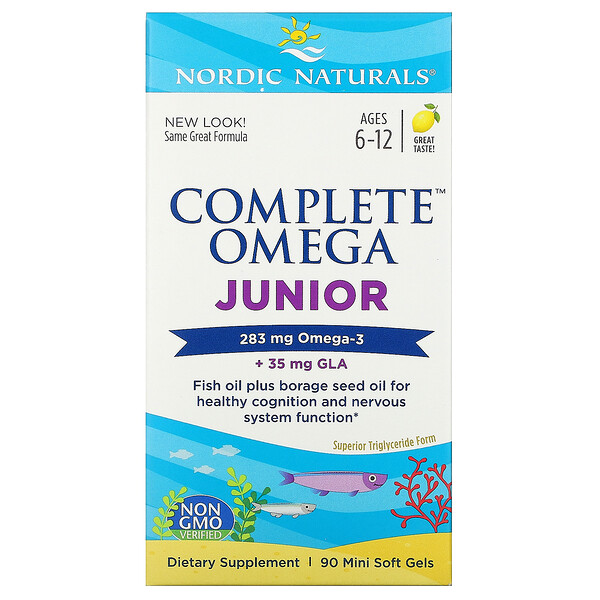 Complete Omega Junior, Ages 6-12, Lemon, 283 mg, 90 Mini Soft Gels
