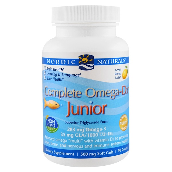 Nordic Naturals, Complete Omega-D3 Junior, Lemon, 500 mg, 90 Soft Gels