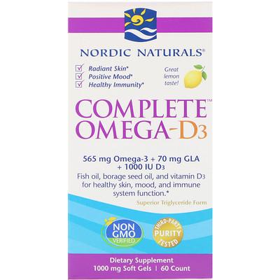 Комплекс Омега-D3, лимон, 1000 мг, 60 мягких таблеток postnatal omega 3 лимон 650 мг 60 мягких таблеток