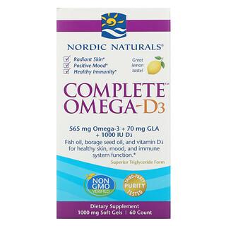 Nordic Naturals, Complete Omega-D3, Lemon, 1,000 mg, 60 Soft Gels