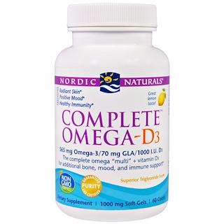 Nordic Naturals, Complete Omega-D3, Lemon, 1000 mg, 60 Soft Gels