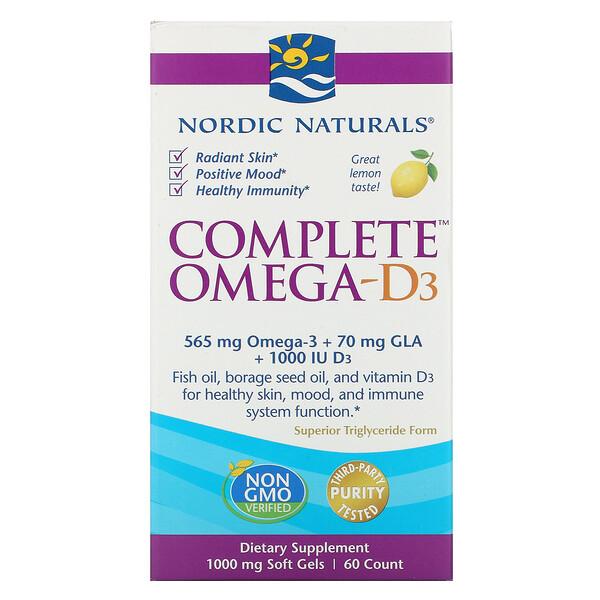コンプリートオメガ-D3、レモン、1000 mg、ソフトゲル60個