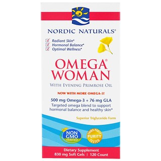 Nordic Naturals, Omega Woman, With Evening Primrose Oil, 830 mg, 120 Soft Gels