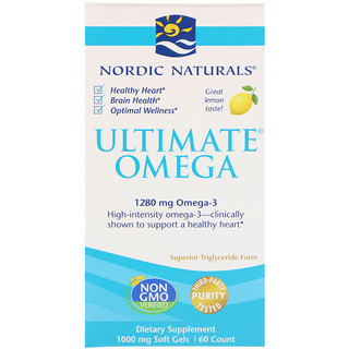 Nordic Naturals, 究極のオメガ, レモン, 1,280 mg, 60ソフトゼリー