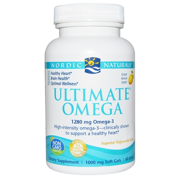 Nordic Naturals, Ultimate Omega, Lemon, 1,280 mg, 60 Soft Gels