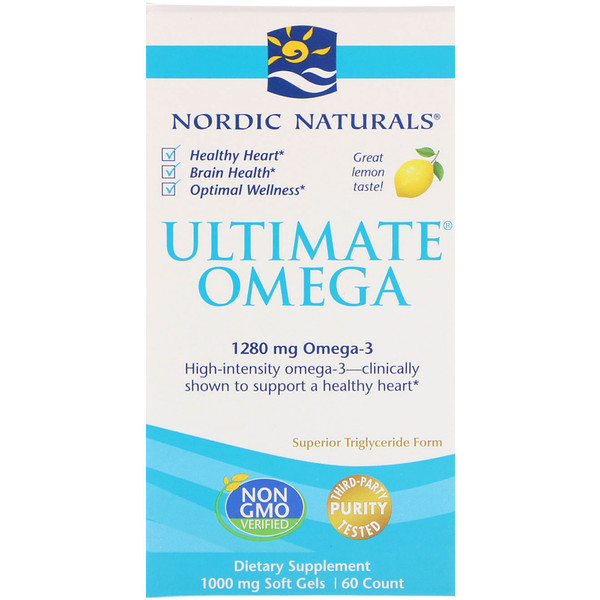 Nordic Naturals, Ultimate Omega, Lemon, 1000 mg, 60 Soft Gels (Discontinued Item)