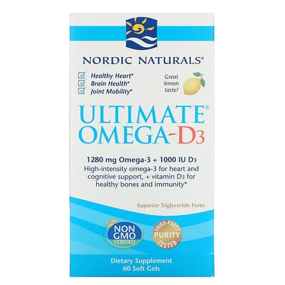 Nordic Naturals Омега-D3 Ultimate, лимон, 1000 мг, 60 гелевых капсул