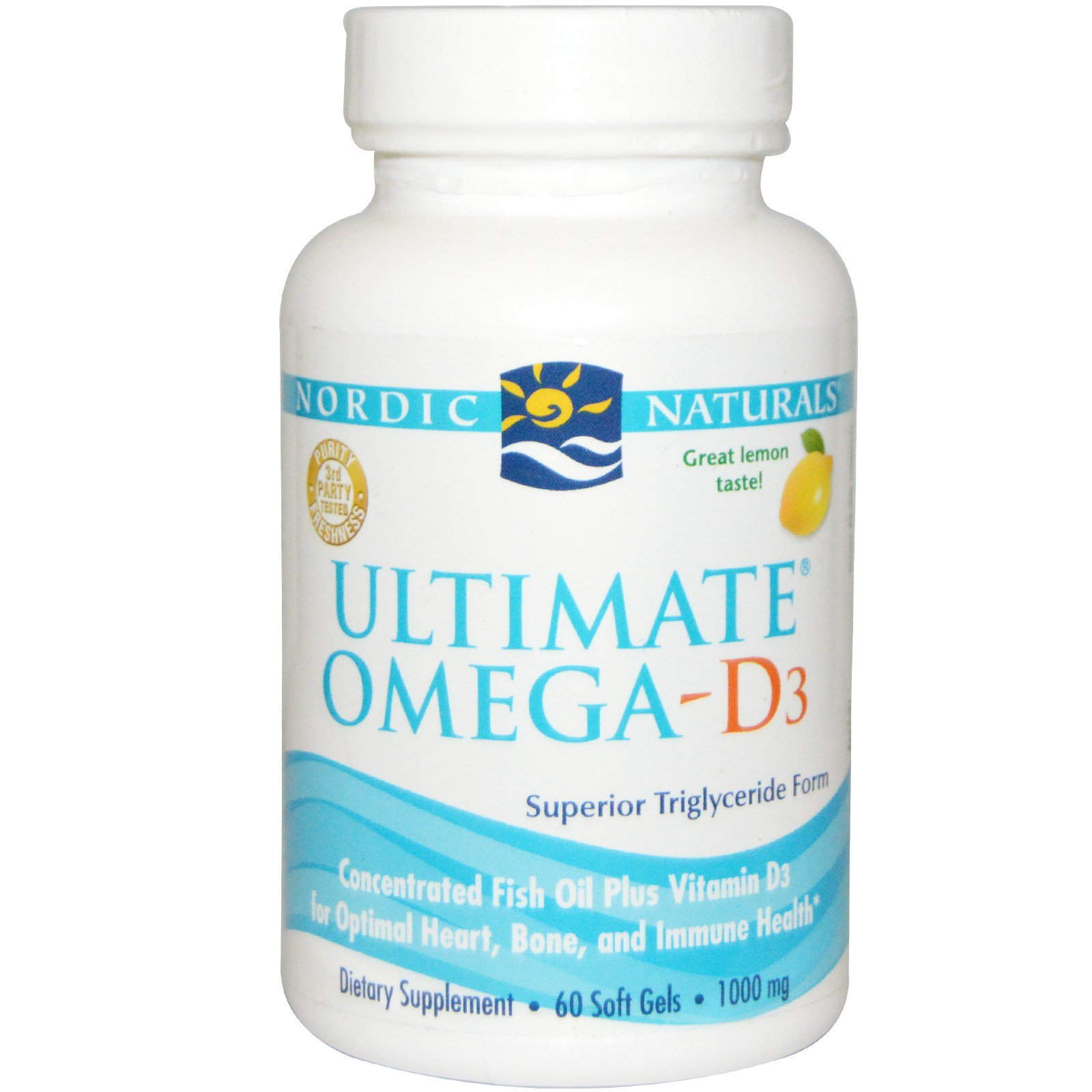 Nordic Naturals, Ultimate Omega-D3, лимон, 1000 мг, 60 капсул